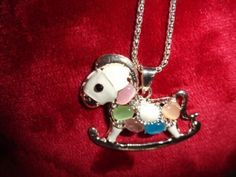 $5.99 free shipping Betsey Johnson  Crystal Rocking Horse  Necklace USA Seller & Free Gift  #BetseyJohnson