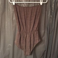 Bodysuit American apparel tube top body suit. Size medium. The color is a heathered coffee color :) American Apparel Tops