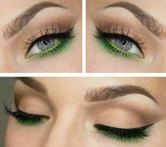 Lime green under eyeshadow