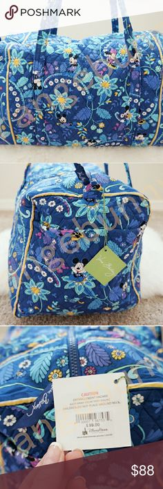 "Vera Bradley large duffle disney limited ed Super roomy travel duffle in coop with disney parks, one main compartment and one side pocket for all your travel needs. Long 17"" strap for easy carry on wrist or shoulder. New never used Vera Bradley Bags Travel Bags"