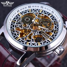 >> Click to Buy << Winner Classic Chinese Style Pattern Skeleton Design Brown Leather Strap Luxury Brand Watch Men Mechanical Automatic Watch Clock #Affiliate