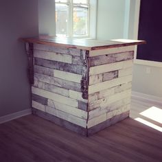 Pallet wood receptionist desk