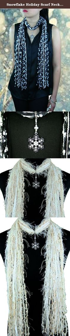 Snowflake Holiday Scarf Necklace in Beige Blue Black White ~ Exquisite Snowflake Collection Moonlit Forest Snowflake. Snowflake Holiday Scarf Necklace in Beige Blue Black White ~ This beautiful ornate snowflake is adorned with 19 reflective crystals that sparkle with color when in the light. The jewelry piece has a reflective crystal and two silver beads. To see Red and Green Christmas colors for this pendant, please see my Amazon Shop. Blue/White: A beautiful holiday scarf for both…
