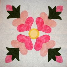 Rose of Sharon Block Pattern | this listing is for one rose of sharon quilt block which measures 16 1 ...