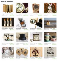 #EtsyTreasury Time! Alice in Wonderland gift ideas from down the rabbit hole include Drink Me bottle pendant by Trash and Trinkets, Alice's Adventures in Wonderland playing cards by Gryphon Designs and aquariann's white rabbit art magnet.