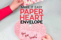 Easy Paper Heart Envelope Filled with Love! Paper Flower Patterns, Paper Flower Tutorial, Cricut Tutorials, Cricut Ideas, Cricut Craft, Craft Paint Storage, Ikea Craft Room, Heart Envelope, Rose Gold Paper