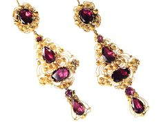 Georgian garnet cannetille earrings.