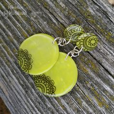 Lime (circle mandala earrings) Mandala Pattern, Painting Patterns, Polymer Clay, Lime, Personalized Items, Purple, Bracelets, Earrings, Handmade