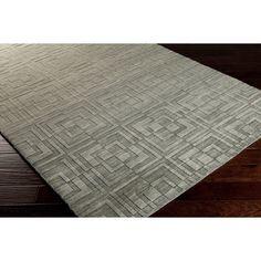 Hand-crafted Solid Casual Wool Rug (Bay Leaf-(5' x 8')), Grey, Size 5' x 8'