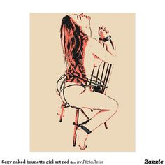 Sexy naked brunette girl art red and beige sketch