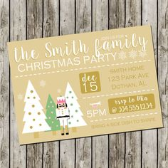 Christmas Party Invitation  Nutcracker by SweetCottonPaperie