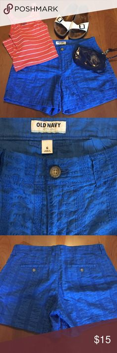 Brand new Old Navy blue shorts size 6 Old Navy blue embroidered shorts. Brand new without tags - Size 6. Striped tank, Birkenstocks, and blue wristlet all listed separately - purchase together for discount 😊 Old Navy Shorts