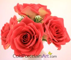 Handcrafted two tone Roses by ColdPorcelainArt #centerpiece