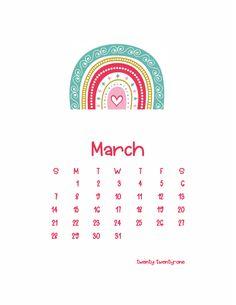 Free Printable Calendar, Free Printables, Calendar Wallpaper, 2021 Calendar, Monthly Calendars, Rainbow, March, Phone Backgrounds, Bullet Journal
