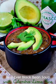 Best Ever Black Bean Soup with Cilantro Lime Rice