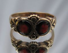 9K Solid Yellow Gold Victorian Garnet Ring Retro Vintage