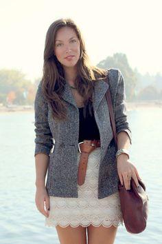 Masculine tweed blazer + femme lace skirt.