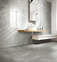 Pour une salle de bains tendance, osez l'effet marbre sur votre mur…