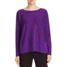 Eileen Fisher Marled Patch Pocket Sweater ($155) ❤ liked on Polyvore featuring tops, sweaters, ultraviolet, eileen fisher tops, purple top, eileen fisher, eileen fisher sweaters and purple sweater