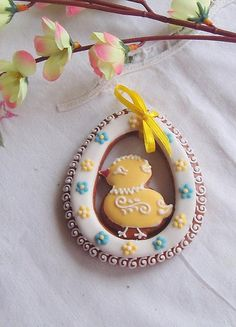 easter cookies but with stained glass and chick floating