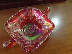 Fenton Ruby Carnival Art Glass Bon Bon Dish Butterfly Pattern