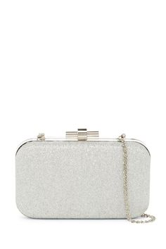Never be without the necessities with this glitter evening clutch.