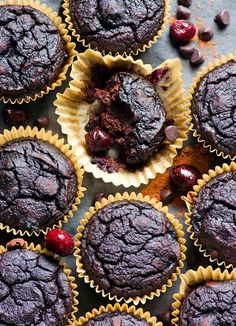 Chocolate coconut flour muffins with fresh or frozen cherries. Moist, fudgy, sugar free, healthy and tasty.