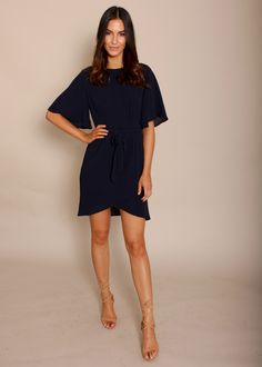 Starlight Floaty Sleeve Dress- Navy | Gingham & Heels