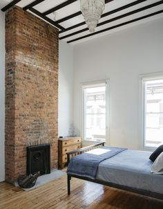 Three fireplaces were rebuilt, including in the master #bedroom. The flues were relined in stainless steel to make them operable. #manhattan
