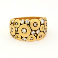 """ALEX SEPKUS Ring, """"Ocean"""" ,18ky Gold, 21 Diamonds= approx. 0.44ct tw. 12mm Wide; Size 7, 30"""