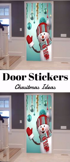 Christmas Baubles Snowman Pattern Door Art Stickers