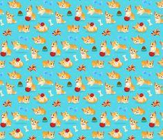 Corgi Fun! fabric by westgateillustrates on Spoonflower - custom fabric
