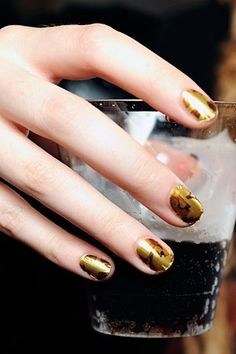 Fun with rustic golds - Minx nail
