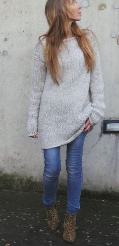 Robe pull gris Robe tricot femme pull long par ileaiye sur Etsy