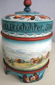 Telemark Cream Carafe with Landscape