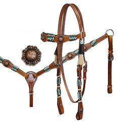 Showman Rawhide Braided Headstall And Breast Collar Set With Antique Conchos