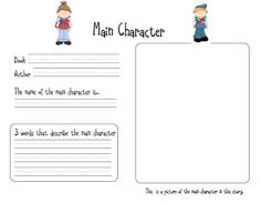 characterisation first grade worksheets | Funky First Grade Fun: Main Character Free Download