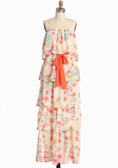 Hawaiian Delight Tiered Maxi Dress