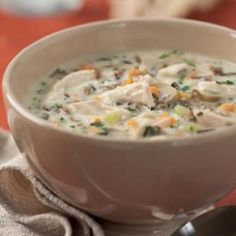 This is a healthier twist on a classic creamy turkey and wild rice soup that hails from Minnesota. Serve with a crisp romaine salad and whole-grain bread. Cream Of Turkey &Wild Rice Soup. Cream Of Turkey Soup, Turkey Wild Rice Soup, Chicken Wild Rice Soup, Turkey Chicken, Chicken Soups, Pepper Chicken, Cooked Chicken, Creamy Chicken, Leftover Turkey Recipes