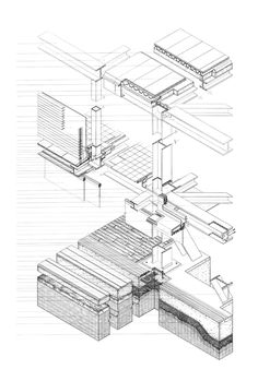 Hand-drawn sectional axonometric of Shigeru Ban's Picture Window House located…
