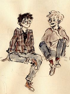 Just hanging out in scrawly watercolour - Harry Potter and Ron Weasley