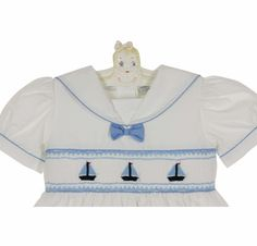 NEW Carriage Boutique White Cotton Smocked Toddler Dress with Embroidered Boats