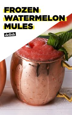 Frozen Watermelon Mules will cool you down ALL summer. Get the recipe at Delish.com. #recipe #easy #easyrecipe #mules #watermelon #cocktail #vodka #alcohol #liquor #booze #cocktailrecipe #drinking