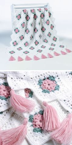 Blush Rose afghan, free pattern by Maggie Weldon.  *Note -- Small squares used around the edge.   . .