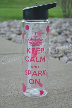 Keep Calm and Spark On Water Bottle -Softball, Soccer, Volleyball, Cheer, Basketball, Baseball, Sports - Clear, Plastic, BPA free, Flip Top