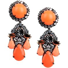 Shourouk Earrings ($221) ❤ liked on Polyvore featuring jewelry, earrings, orange, earrings jewellery, earring jewelry, orange earrings, metal jewelry and shourouk jewelry