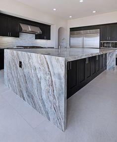 Dramatic Fantasy Brown Marble Countertops And Tile Flooring Granite Kitchen, Marble Countertops, New Kitchen, Kitchen Islands, Backsplash Marble, Kitchen Wood, Kitchen White, Home Design, Design Ideas