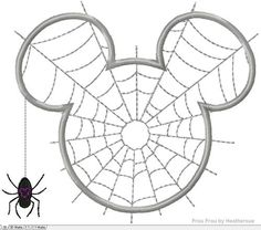 Spiderweb Mister Mouse Head Halloween Machine Applique Embroidery Design, multiple sizes, including 4 inch, $3.75