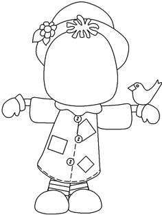 Draw in the face Scare Crow coloring page, great for Autum art projects