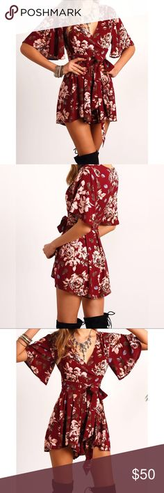 """✨V Neckline Floral Tie Waist Wrap Playsuit✨ ✨Fabric:Fabric has no stretch Season:Summer Pattern Type:Floral Color:Burgundy Sleeve Length:Half Sleeve Material:Polyester Neckline:V neck Style:Sexy, Vacation, Boho Shoulder(Cm):M:38cm Bust(Cm):M:94cm Length(Cm):M:80.5cm Waist Size(Cm):M:76cm Size Available:M Sleeve Length(Cm):M:27.5cm Height:173cm/5'8"""" Bust:89cm/35"""" Waist:60cm/24"""" Hip:90cm/35"""" Wear:S✨ Pants Jumpsuits & Rompers"""